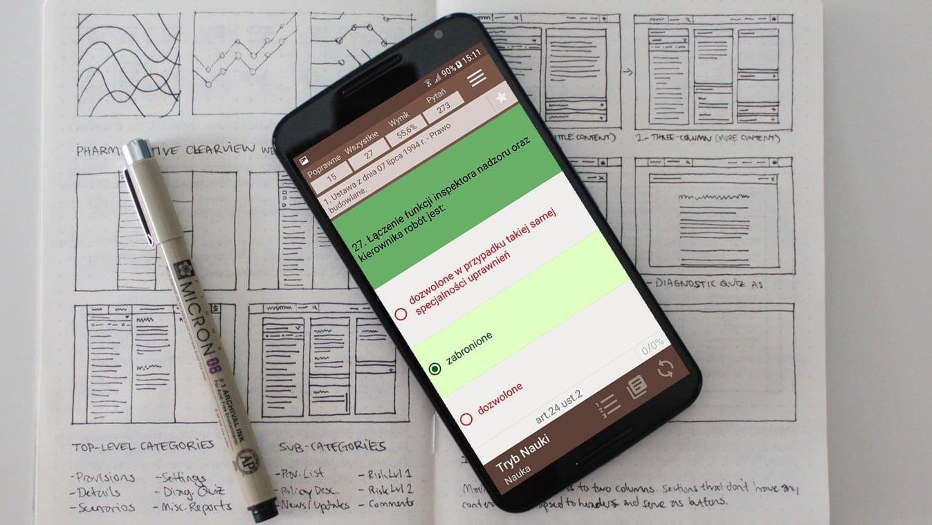 Tryb nauki - aplikacja Uprawnienia Budowlane